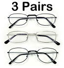 3 Pair Black Silver Metal Frames Assorted Woman Men Lots Readers Reading Glasses