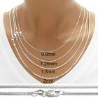 sterling silver BOX chain necklace All widths & lengths