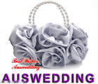 Vogue Silver Bridal Rose Satin Evening Wedding Prom Bag