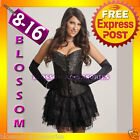 1192 Burlesque Black Diamante Moulin Corset 8 10 12 14