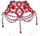 Red Black Bead Victorian Vintage Gothic Type Rouge Moulin Choker Collar Necklace