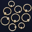 2 14G Gold Plated Captive Lip Eyebrow Ear Nipple Ring