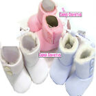 Baby Fur Trim Button Detail Soft Feel Boots Pink, Blue or White 3 Sizes 0-12mths