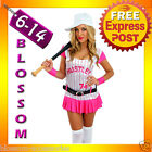 F20 Ladies Hustler Baseball Ball Girl Sports Fancy Dress Costume Outfit + Hat