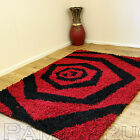 SMALL-MED-XLARGE 5CM THICK HIGH PILE RED BLACK MODERN  SHAGGY RUGS