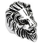 316L Stainless Steel Huge & Detailed Men's 3D Lion's Head Ring Size 9-14