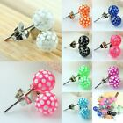 CUTE UV 6MM BALL BEADS SPOTS DOTS STAINLESS STEEL STUD PIN EAR EARRINGS JEWELRY