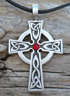 Silver PEWTER Wales CELTIC CROSS Irish GARNET Crystal JANUARY Birthstone Pendant