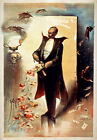 M63 1892 Vintage Roses & Top Hat Magician Magic Theatre Poster A4