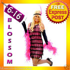 1920s Charleston Pink Flapper Party Fancy Dress Costume + Feather Boa, Headband