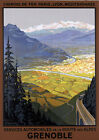T28 Vintage France Grenoble French Travel Railway Poster Print Broders A4