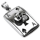 Stainless Steel Poker Ace of Spades and Skull Pendant w/ Necklace