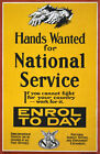 WA95 Vintage WW1 Hands Wanted For National Service War Poster Re-Print A1/A2/A3
