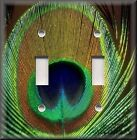 Metal Light Switch Plate Cover Copper Green Peacock Feather Home Decor Peacock