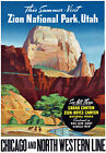 T81 Vintage America Zion National Park Utah Grand Canyon Travel Poster A4