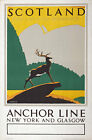 TX43 Vintage 1930's Scotland Anchor Line Travel Poster Re-Print A1/A2/A3