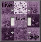 Light Switch Plate Cover - Inspirational Sayings - Live Love Laugh - Plum Purple