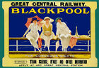 TR76 Vintage Blackpool Great Central Railway Travel Poster Re-Print A4