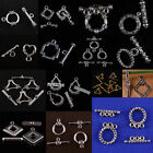 Bulk Lot Tibet Silver Heart Square Oval Triangle Round Flower Shape Toggle Clasp