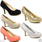 LADIES CONCEALED LOW MID HEEL CASUAL PUMP OFFICE WORK SMART COURT SHOES SIZE 3-8