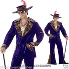 C35PU Men Pimp Purple Crushed Velvet Hallowen Fancy Dress Adult Costume