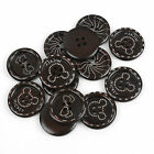 20pcs Coffee Painting Mixed Wooden Sewing Buttons Scrapbooking 15-30mm To Pick
