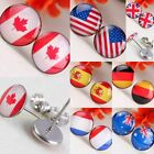 USA UK Canada France Spain Australia Flag 10mm Stainless Steel Stud Pin Earrings