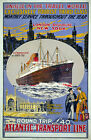 TW66 Vintage 1920's London New York Cruise Ship Travel Poster Re-Print A4