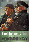 3W8 Vintage WW2 Merchant Navy Life Line British WWII War Poster Re-Print A4