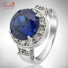 LADY FASHION JEWELRY ROUND CUT BLUE SAPPHIRE FINE CLEAR TOPAZ RING SIZE-O/6/7/8