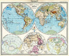 MP14 Vintage Old 1891 Adolf Stieler World Map Poster Re-Print - A1 A2 A3