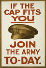 W89 Vintage WWI British If The Cap Fits Enlist Join Army War Poster WW1 A1 A2 A3