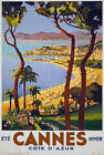 TX02 Vintage 1930's Cannes Cote D'Azur Classic French Travel Poster Re-Print A4