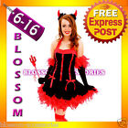 G54 Devil Red Ladies Vixen Fancy Dress Halloween Costume Outfit Horns Pitch Fork