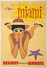 TX40 Vintage 1950's Miami Florida America Airways Travel Poster Re-Print A4