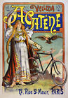 AV63 Vintage 1898 French Acatene Chainless Bicycle Bike Advertisement Poster A4