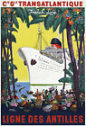 TT37 Vintage Caribbean French France Cruise Ship Travel  Poster Re-Print A4