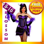 G68 Purple Burlesque Spanish Can Can Moulin Rouge Hens Night Costume Corset