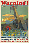 W59 Vintage WWI Careless Work Warning War Poster Re-Print WW1 A4