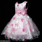 P3211 Girl Pink Floral Christmas Party Flower Girls Dress Outfit SZ 3,4,5,6,7,8T