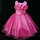 HP8811 Toddler Girl Kid Pink Christmas Pageant Girls Dress SZ 2-3-4-5-6-7-8-9-10