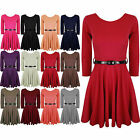 Womens Skater Dress Belted 3/4 Sleeves Short MINI Party Dresses Top 8 10 12 14