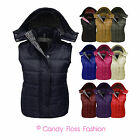 NEW WOMENS LADIES SLEEVELESS HOODED QUILTED GILET BODYWARMER JACKET SIZES 8-20
