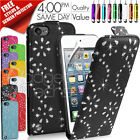 DIAMOND LEATHER FLIP CASE COVER FITS APPLE IPOD TOUCH 5TH GEN FREE SCREEN GUARD