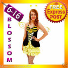 G82 Ladies Bumble Bee Fancy Dress Up Costume Halloween Hen Party Outfit + Wings
