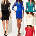 Women's Sexy V-neck Pencil Fit Mini Slim Lace Dress Cocktail Casual Party