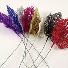 Small 11cm Artificial Glitter Leaves in 8 Colours.  Bling Flowers Foliage