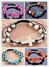 Pick Color Howlite Turquoise Stone Ball Cross Beads Macrame Bracelet Gemstone