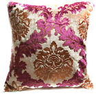Wa01a Claret Red Gold Print Damask Velvet Cushion Cover/Pillow Case*Custom Size
