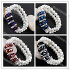 Faux Pearl Spacer Faceted Crystal Glass Beads Bangle Stretchy Bracelet Jewelry